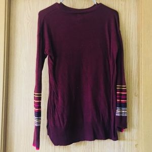 Maroon Sweater w/ striped Sleeve